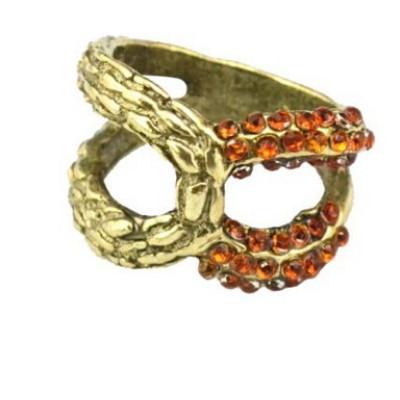 R-1109 European Bronze Alloy Rhinestone Small Gem Hollow Out Bowknot Shape Metal Ring