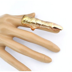 R-1092 New Fashion Punk Gold Plated AlloyColour Metal Finger Nail Shape Joint Ring