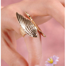 R-1027 New Charming Gold Plated Double Angel Wings Finger Ring Size #5 Free Sipping