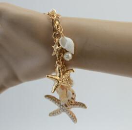 B-0085 B-0039 Charm Gold Silver Metal Alloy Chain Bowknot White Pearl Starfish Shell Beautiful Bracelet