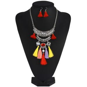 N-6915 Bohemian Vintage Jewelry Set  Silver Plated  Tassel Pendant Necklace Earring for Women