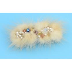 F-0013  Vintage Chram  Crystal Pearl Bead Animal hair Design Hair Clip for Women Girls Party