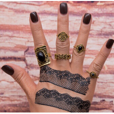 R-1472 5Pcs/set Bohemian Vintage Silver Gold Plated Knuckle Nail Midi Finger Ring for Women Party Jewelry