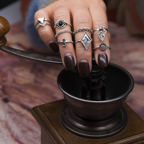R-1471 9Pcs/set Bohemian Vintage  Silver Gold  Knuckle Nail Midi Finger Ring for Women Party Jewelry