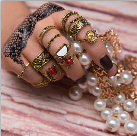R-1473  14 Pcs/Set Vintage Antique Silver Gold Rhinestone Knuckle Midi Finger Rings Set for Women Jewelry
