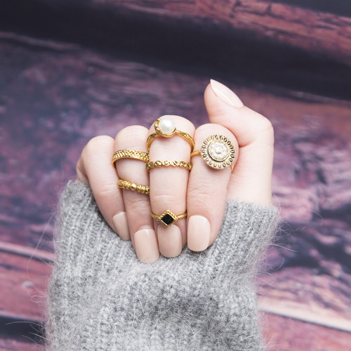 R-1475 6Pcs/set Bohemian Vintage  Silver Gold  Knuckle Nail Midi Finger Pearl Ring for Women