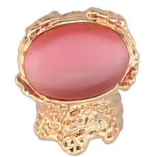 R-0804 R-0800  Gold Tone Engraving Big Cat Eye Gem Stone Ring