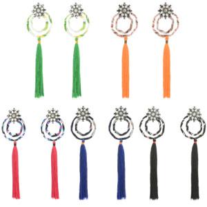 E-4267 5 Colors Fashion Bohemian AAA Zircon Rhinestone Flower Tassel Earrings For Women Party Jewelry