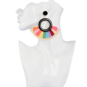 E-4264 3 Colors Fashion Bohemian Rhinestone Thread Tassel Drop Earrings Party Jewelry