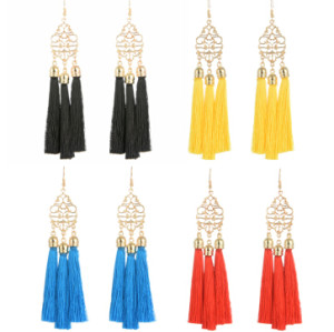E-4266 4 Colors Ethnic Gold Metal Long Tassel Drop Earrings for Women Bohemian Wedding Party Jewelry
