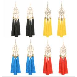 E-4266 4 Colors Ethnic Gold Metal Long Tassel Drop Earrings for Women Bohemian Wedding Party Jewelry