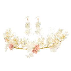 F-0456 Fashion Women Pearl Crystal Flower Chain Handmade Hair Accessories Flower Earring for Women Jewelry