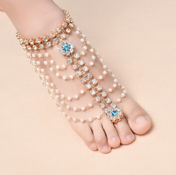 B-0860 New Fashion Summer Anklet Pearl Anklets Foot Silver Gold Chain Crystal Hamsa Beach Jewelry Girl