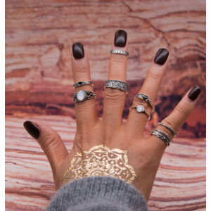 R-1480 7Pcs/Set 2 Styles Vintage Silver Knuckle Nail Midi Finger Rings for Women Bohemian Summer Party Jewelry