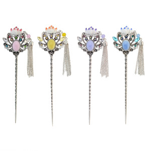 F-0457 4 Colors New Fashion   Rhinestone Tassel Lotus Shape Hair Sticks For Women  Jewelry Accessories