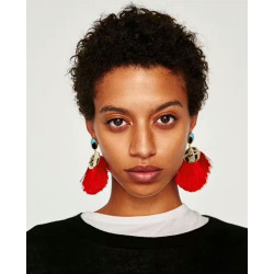 E-4273 6 Colors Fashion Bohemian Rhinestone Thread Tassel Drop Pom Earrings Party Jewelry