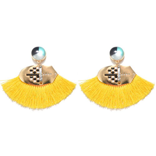 E-4273 6 Colors Fashion Bohemian Rhinestone Thread Tassel Drop Pom Earrings Party Jewelry