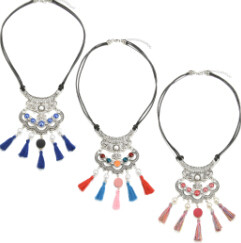 N-6918 3color Vintage Leather Alloy rhinestone resin bead tassel pendant Necklace Accessories