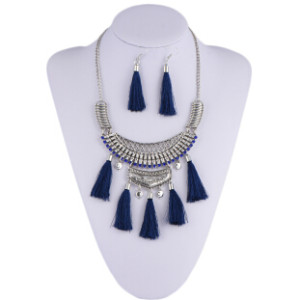 N-6919 Bohemian Vintage Jewelry Set  Silver Plated Tassel Pendant Necklace Earring for Women