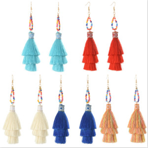 E-4272 5 Colors Bohemian Long Thread Tassel Drop Earrings for Women Wedding Party Gift