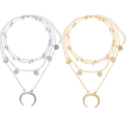 N-6917 2color Fashion Alloy chain  Moon Shape pendant Necklace For women  Accessories