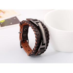 H-0014   Europe Style Men & Women Punk Retro Alloy Cowhide Wide  Leather Bracelet