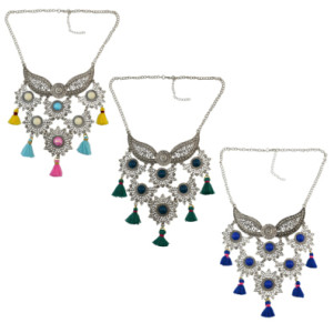 N-6923 Bohemian Vintage Jewelry Set  Silver Plated Flower Tassel Pendant Necklace Earring for Women