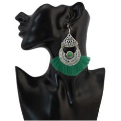 E-4270 4 Colors Fashion Bohemian Rhinestone Thread Tassel Drop Earrings Party Jewelry