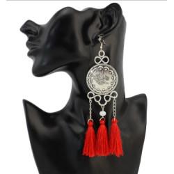 E-4271 4 Colors Ethnic Silver Metal Thread Long Tassel Drop Earrings for Women Bohemian Party Jewelry