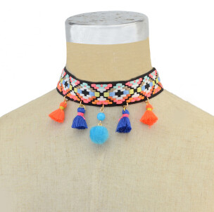 N-6924 Stylish Stripe Pendant Colorful Choker Necklaces for Women Party Birthday Gift Jewelry