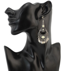 E-4274 1Colors Fashion Bohemian Vintage Stone Flower Drop Earrings For Women Party Jewelry