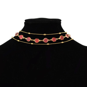N-6922 3Pcs/set Fashion  Multilayer Gold Plated Red Crystal Necklaces for Women  Party  Jewelry