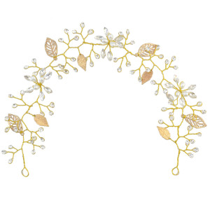 F-0460 Fashion Women Pearl Leaf Crystal Chain Handmade Hair Accessories  for Women Jewelry