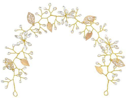 F-0460 Fashion Women Pearl Leaf Crystal Chain Handmade Hair Accessories  for Women Jewelry