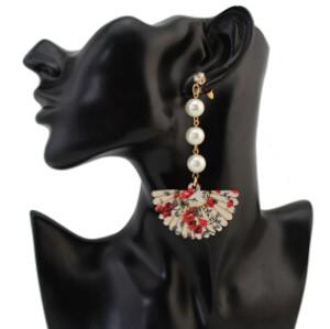 E-4281 Women Wooden Fan Long Drop Earrings Charm Pearl Statement Earring Party Gift Jewelry