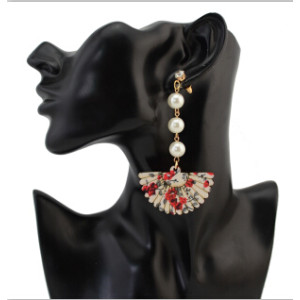 E-4281 Women Wooden Fan Long Drop Earrings Charm Pearl Statement Earring Party Gift Jewelry