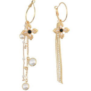 E-4278 Fashion gold plated luxruy Pearl Rhinestone Flower dandlge earrings for party jewelry