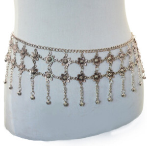 N-6920 Fashion  Silver Plated Flower  Tassel Waist Chain Belly Body Chain  Body Jewelry