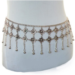 N-6920 Fashion  Silver Plated Flower  Tassel Waist Chain Belly Body Chain  Body Jewelry