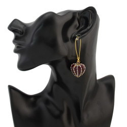 E-4279 New Arrive Korea Gold Plated Enamel 3 D Heart Dangle Earring for Women Jewelry