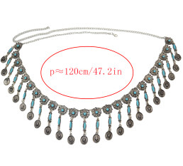 N-6921 Bohemian Vintage Silver Fashion  Body Chain Bell Carved Hollow Out Flower Waist Belly Chain for Women Jewelry