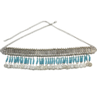 N-6927 Bohemian Vintage Silver Fashion Body Chain Hollow Out Flower Waist Belly Chain for Women Jewelry