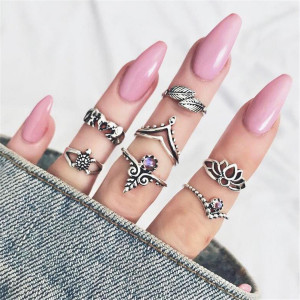 R-1477 7Pcs/set Bohemian Vintage Silver Plated Knuckle Nail Midi Finger Ring for Women Party Jewelry