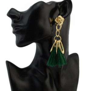 E-4283 5 Colors Ethnic Gold Metal Long Tassel Drop Earrings for Women Bohemian Wedding Party Jewelry