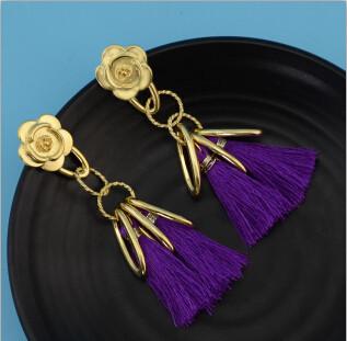 E-4283 5 Colors Ethnic Gold Metal Long Tassel Drop Earrings for Women Bohemian Wedding Party Jewelry