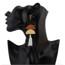 E-4280 Ethnic Wood Bead Tassel Drop Earrings for Women Bohemian Wedding Party Fashion Accessories