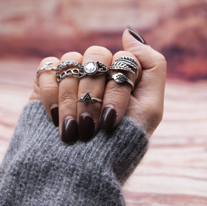 R-1479 7Pcs/set Bohemian Vintage Silver Plated Knuckle Nail Midi Finger Leaf Ring for Women Jewelry