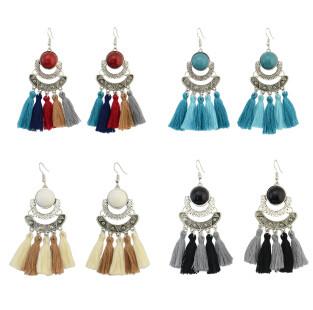 E-4289 4 Colors Fashion Bohemian Rhinestone Thread Tassel Drop Earrings Party Jewelry