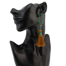 E-4288 3 Colors Vintage Bohemian Hook Bead Tassel Drop Earring for Women Earring