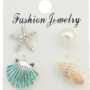 E-4287 4Pcs/Set Fashion 2Colors Conch scallop pearl starfish Stud Earrings Eomen Party Jewelry